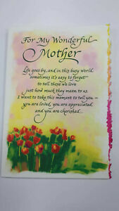 Blue Mountain Arts Sentimental Card: Mother - For My Wonderful Mother