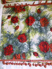Vintage Small CURTAIN SET Red Roses Floral w/ Pom Poms 36 X 18 50s Retro #2