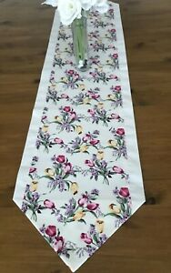 Luxury Table Runner Ivory Tulip Floral IVORY CHRISTMAS Gift Lined 110cm made UK