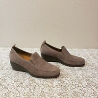 Hush Puppies Vanna Cleary Taupe Gray Suede Wedge Loafers Women's Size US 6.5 M