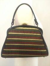 1940s Women's Multi-Color Vintage Handbag With Rising Sun Clasp