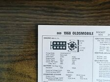 1968 Oldsmobile Series 400 CI V8 2BBL or 4BBL SUN Tune Up Chart Great Shape!