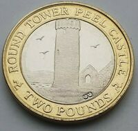 Isle of Man Round Tower Peel Castle £2 coin - Circulated
