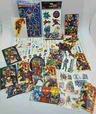 HUGE LOT of Marvel Heroes Spider-man Avengers Stickers and Temp Tattoos