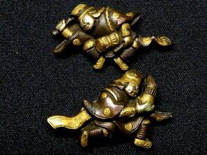 Edo period Japan antique Mito school Player copper Menuki Box sword tsuba rare