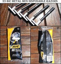 BIC METAL 5 PACKS OF 5 ORIGINAL BICMETAL SINGLEBLADE SHAVER 25 DISPOSABLE RAZORS