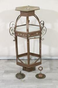 90 cm Laterne Lampe Lampengehäuse Schmiedeeisen Messing 1920er/30er Jahr(MÖ3610)