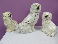3 Vintage Porcelain Staffordshire Dogs Figurines Statues (Y206)