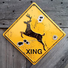 Deer Buck Crossing Xing Metal Caution Sign Bullet Holes Hunting Cabin Wall Decor
