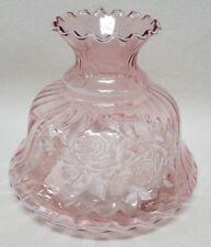 "NICE! Vintage Large Hurricane Lamp Shade Pink Ruffled White Flowers 7"" Fitter"