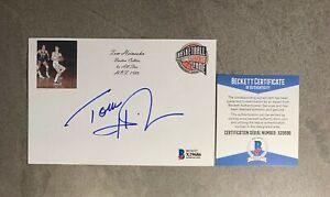 Tom Heinsohn Signed 4x6 Index Card Cut Beckett BAS COA Boston Celtics HOF Auto