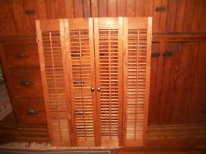 """Pair 40"""" Tall x 31"""" Wide Wood Interior Louver Plantation Window Shutters VTG~#2"""