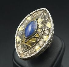 Large Chunky Mixed Metal Afghanistan Lapis Marquise Statement Ring Size 8 RS1550