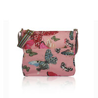 Pink Large Butterfly Print Canvas Cross Body School Messenger Bag Birthday Gift