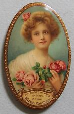 VERY HTF HIRES  ROOT BEER CELLUOID ADVERTISING POCKET MIRROR BEAUTIFUL GIRL MINT