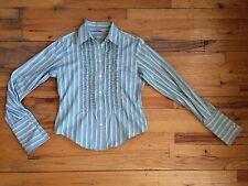 Paul Smith Striped Tux Ruffle Front Button Down Shirt Blouse Sz 42 PERFECT