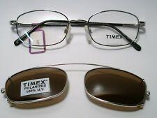 New Mens Metal Eyeglass Frame Timex T003  w/Clip on Sunglass SILVER 49-18-135