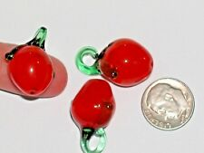1 tiny Miniature apple berry Glass Fruit Lampwork pendant wine charm bead New *