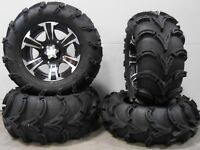 """ITP SS312 14"""" Wheels Black 27"""" Mud Lite XL Tires Yamaha Grizzly Rhino"""