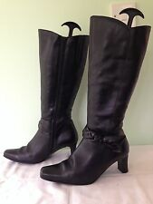 SEXY K SHOES BLACK LEATHER KNEE HIGH BOOTS UK 5.5 EUR 38.5 WINTER