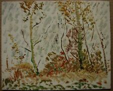 Russian Ukrainian Soviet Oil Painting Pointillism landscape autumn trees