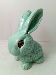 "Vintage Sylvac / Wadeheath Pottery - Snub Nose Green Rabbit 7"", Ceramic Bunny"