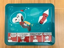 Peanuts Snoopy Astronaut Metal Tin Lunch Box Hallmark Comic Strip