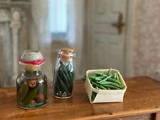 Vintage Miniature Dollhouse 1:12 Kitchen Garden Canning Jars of Green Vegetables