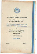 1938 Invitation to Pre GGIE World's Fair Dinner One Year Before Opening Day