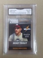 $100- Mike Trout Rc 2008 GMA 10 RC Onyx Limited Millville High Gem MT-2000-MADE.