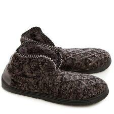 MukLuks Mark Mens Boys Sherpa Lined Knitted Boot Slippers Dark Grey S (8 - 9)