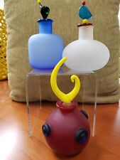 Set of 3 Colored Glass Decorative Bottles With Stoppers