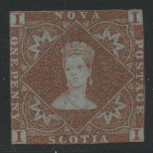 Nova Scotia 1851 Pence QV 1d red brown #1 Mint with Cert