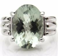 NEW! Green Amethyst Oval Prasiolite 14x10mm 9ct White Gold Ring UK Made Hallmark