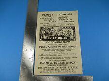 Estey Organ Brattleboro VT Flyer Jonas E. Divers & Son Newton NJ Piano S3469