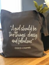 Coco Quote Grey Cotton Designer Inspired Tote Bag Shopper - Can Be Personalised