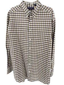Men's Brown White Dress Shirt Size 2XB Big Checks Button Up Roundtree Yorke New