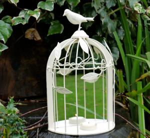 Vintage Cream Bird Cage Mirrored Tealight Candle Holder Garden Home Wedding 2nd