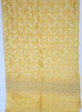 Vintage Yellow Pure Silk Saree Thred Embroidered Boder Ethnic Home Decor PNAJ702