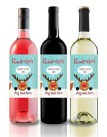 Personalised Funny Christmas Wine Label, gift idea, secret Santa - Rude-olph