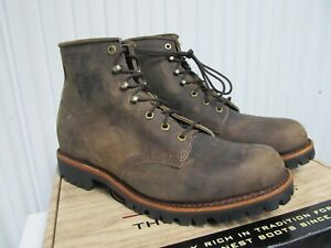 """Chippewa Cibola Work Boots 6"""" Leather Brown Plain Toe 11 20080 Engineer Logger"""