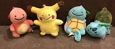 4x Pokemon Plush - 8cm Plush Pikachu Bulbsaur Charmander Squirtle - Brand New