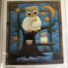 "New listing Owl Family Wall Quilt Kit 13"" x 15"" Tree Stars Night"