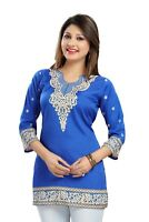 UK STOCK - Indian Pakistani Printed Kurta Dress Kurti Tunic Top Women 519Blu