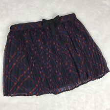 Forever 21 Girls Red Blue and Black Plaid Accordion Skirt Size Fully Lined 11/12