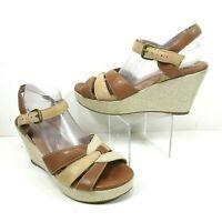 Soft Walk Size 12 M St. Helena Natural Canvas Leather Wedge Platform Sandals