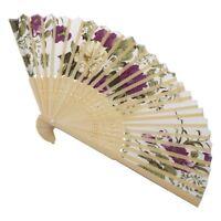 Frauen Sommer Hochzeit Blumenmuster Stoff faltender Handfaecher Weiss Lila R7 R9
