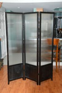 Vintage Heavy Solid Glass Black Folding Screen Divider with Ribbed Glass Panels