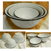 New Enamel Set of 3 Nesting Mixing Serving Bowls White Farm House Chic Camp