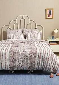 Anthropologie Duvet Cover Embellished Sweet Pea Floral Ivory Red Queen NWT